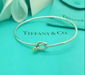 Tiffany & Co. RARE 18Ct 750 Yellow Gold and Silver Love Knot Bangle Bracelet