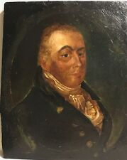 18th Century Portrait of an English or American Gentleman — Oil on Wood Board
