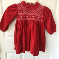 Carriage Boutiques Dress 24m Baby Girl Smocked Party Red Velvet Xmas Formal Euc