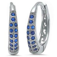 Sapphire Huggie Hoop Earrings in Solid Sterling Silver ~ Gorgeous Color