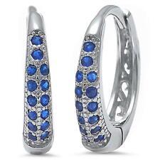 Sapphire Huggie Hoop Earrings in Solid Sterling Silver ~ Gorgeous Color
