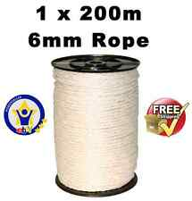 ELECTRIC FENCE ROPE - 1 x 200 Metres 6mm White Poly Fencing Horse Paddock tape