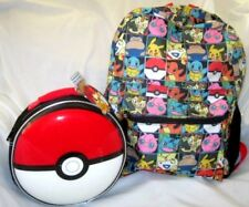 "Pokemon Pikachu Multi Character Checkered 16"" Backpack+Pokemon Ball Lunchbox"