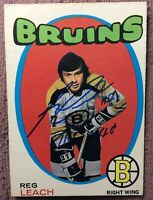 """*SIGNED* *ROOKIE CARD* 1971-72 OPC #175 REG LEACH *VG+* ~*INSCRIBED* """"THE RIFLE"""""""