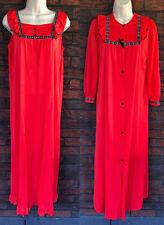 Vintage Nylon Set Small Nightgown Peignoir Gown Robe Romantic Prairie Lorraine