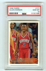 1996 Topps Allen Iverson #171 RC Rookie PSA 10 GEM MINT! HOF! Great Card!