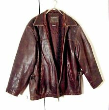 Vtg Distressed Brown Leather Insulated Oakwood Jacket Side Buckles Sz XL /2XL