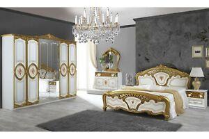 Barock Schlafzimmer Samanta in Weiss/Gold 6-Tlg.