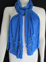 NEW WOMEN SOFT FABRIC FASHION BLUE SCARF LONG NECKLACE SILVER METAL STARS STUDS