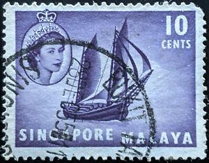Stamp Singapore SG44 1954 10c Timber Tongkong Used