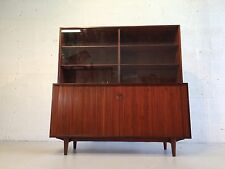 great Arne Hovmand-Olsen tambour door cabinet with hutch for Selig teak denmark