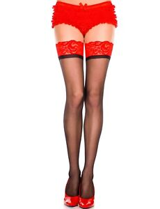 sexy MUSIC LEGS sheer TWO tone thick LACE top thigh HIGHS stockings PANTYHOSE