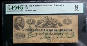 T-43 1862 $2 TWO DOLLARS CSA CONFEDERATE STATES PMG 8 VERY GOOD NICE! BRIGHT!