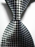 New Classic Silk Necktie Pattern Black White JACQUARD WOVEN Men's Tie