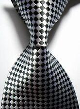 Hot Classic Silk Necktie Pattern Black White JACQUARD WOVEN Men's Tie