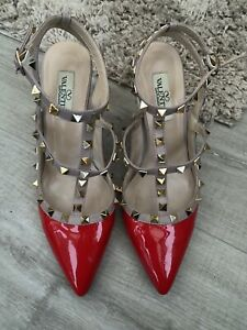 Valentino Red Patent Rockstud Heel Shoes Size 40 Uk Size 7