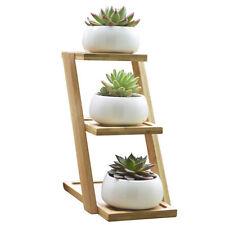 Succulent Planters Set Pots 3 Tier Shelf Ceramic Cactus Planter Bamboo Tray