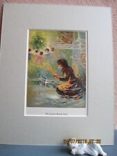 """vintage lithograph illustration of Andersen's """"The Little Match Girl """" 1907"""