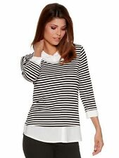 3/4 Sleeve Collared Casual Striped Tops & Shirts for Women