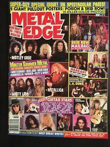 Metal Edge Magazine October 1989 Complete Motley Crue Metallica Skid Row Rock