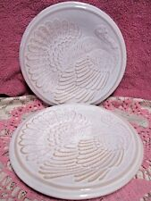 Noble Excellence Turkey Salad Plates Ironstone Embossed Thanksgiving Set of 4