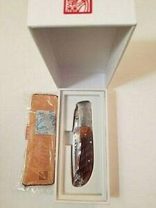 "NEW AL MAR HONEY JIGGED BONE EAGLE 4"" SATIN LEATHER SLIP POUCH EDC knife"