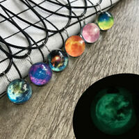 Glow in the Dark Galaxy System Planet Pendant Necklace Double Sided Glass Dome