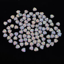 100Pcs Nail Art 3D Silver Heart Shape Faced Flat Back Resin Charm Beads 10mm A
