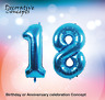 """Giant 18th Birthday Party 40"""" Foil Balloon Helium Air Decoration Age 18 BLUE"""