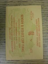 22/07/1978 Cricket Ticket: Benson and Hedges, Derbyshire v Kent [At Lords] (slig
