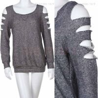 Round Neck French Terry Cotton Sweater Top with Laser Cut Long Sleeve Knit Shirt