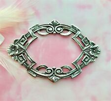 ANTIQUE SILVER Art Deco Flower Frame Stamping ~ Oxidized Finding (C-805)