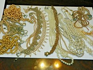 Estate found VINTAGE Faux Pearl Necklace Lot of 820gr Pearls for craft repairs