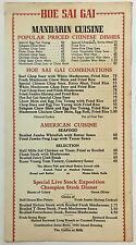 1941 Vintage Dinner Menu HOE SAI GAI Chinese American Restaurant Chicago IL.