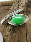 Green Burmese Jadeite Jade Ring/糯冰阳绿天然缅甸翡翠戒指/ナチュラルビルマ翡翠リング