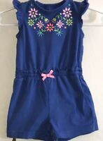 Carter's Baby Girl's 3M One Piece Blue Romper Colored Embroidered Flowers Front