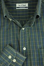 Jos A Bank Men's Green & Blue Plaid Cotton Casual Shirt L Large