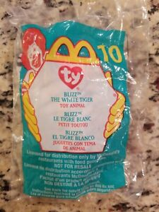 2000 Blizz The White Tiger TY Beanie Baby McDonald's 10 Unopened NEW FREE S/H