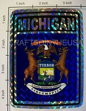 """Reflective Sticker Michigan State Flag 3x4"""" Inches Adhesive Car Bumper Decal New"""