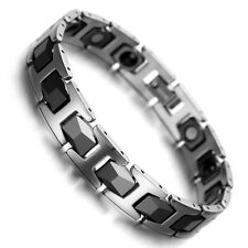 Men's Tungsten Carbide Magnetic Therapy Link Bracelet for Arthritis Pain Relief