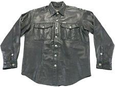 Hommes Harley Davidson Cuir Chemise Veste M Noir Barre Bouclier Snap 98111-98VM