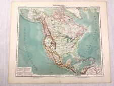 1907 Antique Map of Continental North America United States Canada Mexico