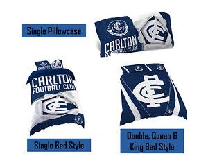 Carlton Blues AFL Pillow Quilt Cover Set: Single, Double, Queen & King Bed