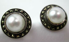 Marcasite framed pearl button earrings sterling silver vintage
