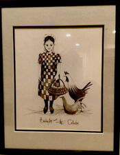 Artist Drawing Signed. Titled:The Collector. Amish Girl with basket Full of Eggs