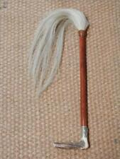 Antique Riding Whip With Horsehair End Silver Deer Collar And Antler Handle