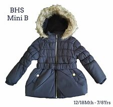BHS Girls Coat Jacket Winter Baby Quilted Hooded Rain Warm School Fleece Lined