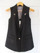 GUESS Women's Sleeveless Tuxedo Vest Black XS