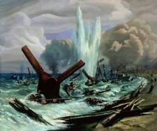 Dream-art Oil painting Fierce war Naval battle Soldiers swimming seascape canvas