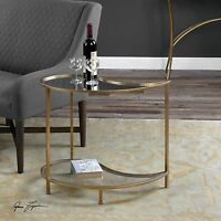 "NEW 28"" ANTIQUE GOLD METAL TEARDROP ACCENT SIDE END TABLE GLASS SHELF MIRROR TOP"